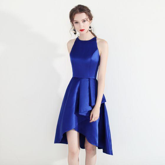 Mode Königliches Blau Heimkehr Abiballkleider 2018 A Linie Rundhalsausschnitt Ärmellos Asymmetrisch Rüschen Festliche Kleider