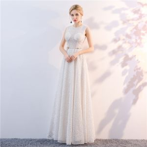Chic / Beautiful White Evening Dresses  2018 A-Line / Princess Lace Metal Sash Scoop Neck See-through Sleeveless Backless Floor-Length / Long Formal Dresses