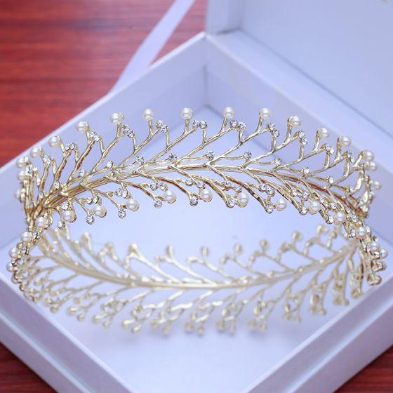 Modest / Simple Gold Pierced Tiara 2018 Metal Pearl Rhinestone Wedding Accessories