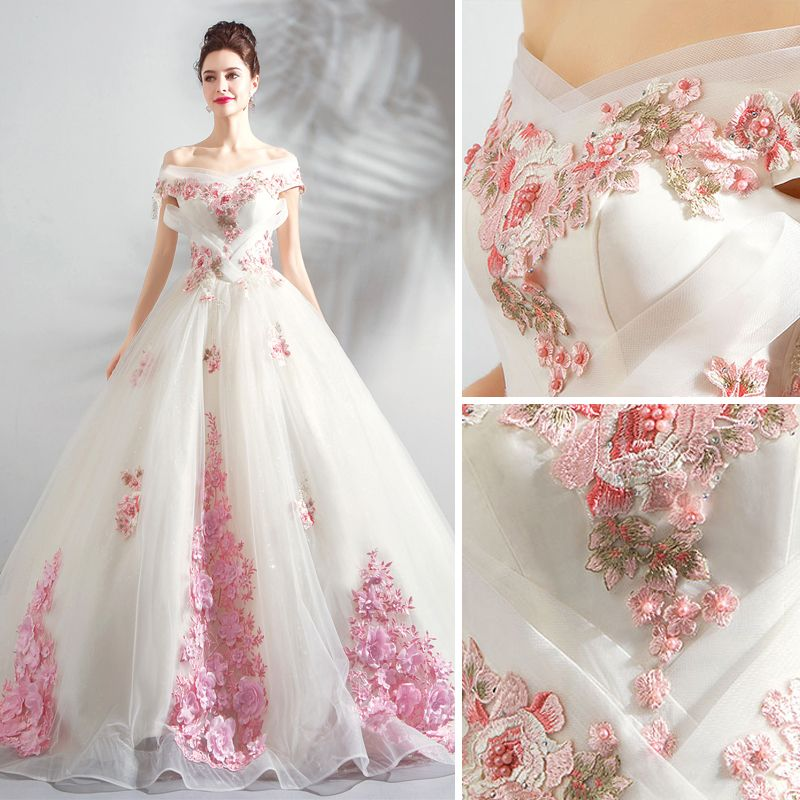 Chic / Beautiful White Wedding Dresses 2018 Ball Gown Appliques Lace Embroidered Pearl Off-The-Shoulder Backless Sleeveless Chapel Train Wedding