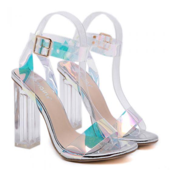 Sexy Argenté Soirée Cristal Sandales Femme 2020 Bride Cheville 12 cm Talons Épais Peep Toes / Bout Ouvert Sandales