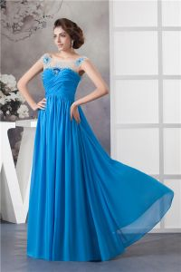 2015 Appealing Empire Sweetheart Pleated Neckline Beading Tulle Shoulders Blue Evening Dress