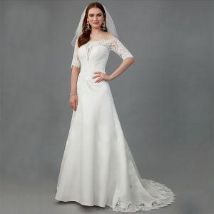 Vintage Weiß Brautkleider / Hochzeitskleider 2020 Meerjungfrau Off Shoulder 1/2 Ärmel Durchsichtige Rückenfreies Handgefertigt Stickerei Königliche Schleppe Hochzeit
