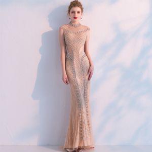 Luxury / Gorgeous Champagne Handmade  Beading Evening Dresses  2019 Trumpet / Mermaid High Neck Crystal Rhinestone Sleeveless Floor-Length / Long Formal Dresses