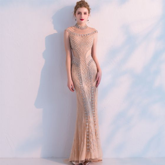Luxury   Gorgeous Champagne Handmade Beading Evening Dresses 2019 Trumpet    Mermaid High Neck Crystal Rhinestone Sleeveless Floor-Length   Long Formal  ... 58752892a253