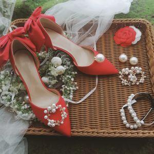 Stijlvolle Rode Satijn Huwelijk Bruidsschoenen 2020 Parel Rhinestone Strik 8 cm Naaldhakken / Stiletto Spitse Neus Hakken