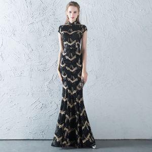 Chinesischer Stil Schwarz Gold Pailletten Abendkleider 2018 Mermaid Stehkragen Ärmel Lange Rüschen Festliche Kleider
