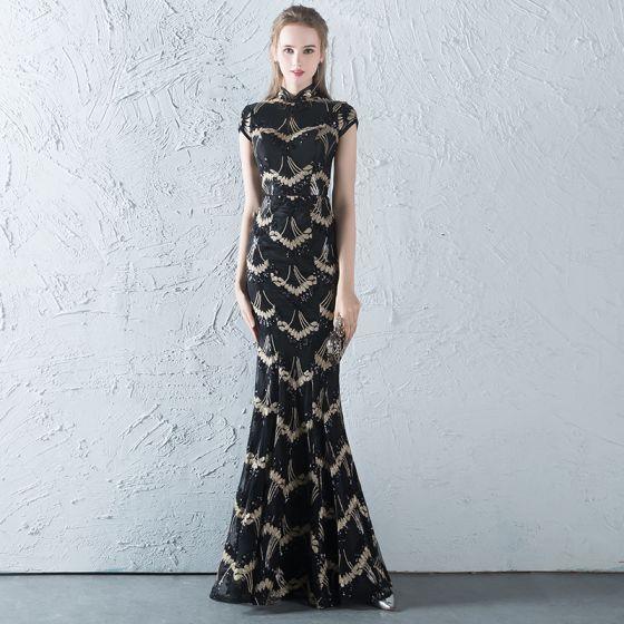 93b69cfb1de Chinesischer Stil Schwarz Gold Pailletten Abendkleider 2018 Mermaid  Stehkragen Ärmel Lange Rüschen Festliche Kleider
