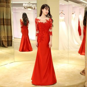 Chinese style Red Evening Dresses  2017 Trumpet / Mermaid Floor-Length / Long Scoop Neck 3/4 Sleeve Backless Lace Appliques Pierced Formal Dresses