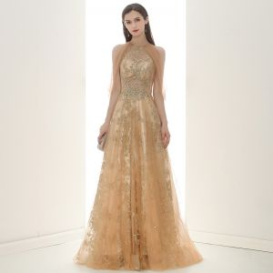 Elegant Champagne Gold See-through Evening Dresses  2020 A-Line / Princess Scoop Neck Sleeveless Appliques Sequins Beading Glitter Tulle Sweep Train Ruffle Backless Formal Dresses