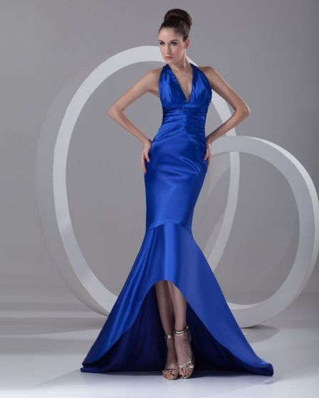 Charmeuse Ruffle V Neck Mermaid Asymmetrical Length High Low Women Prom Dress