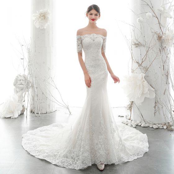 Elegant Ivory Bridal Wedding Dresses 2020 Trumpet / Mermaid Off-The-Shoulder 1/2 Sleeves Backless Appliques Lace Beading Chapel Train Ruffle