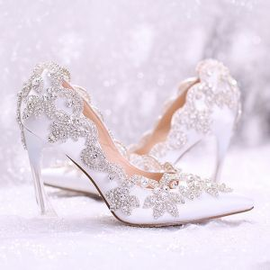 Chic / Beautiful White Wedding Shoes 2017 Pointed Toe PU 9 cm High Heels Beading Rhinestone Wedding Womens Shoes