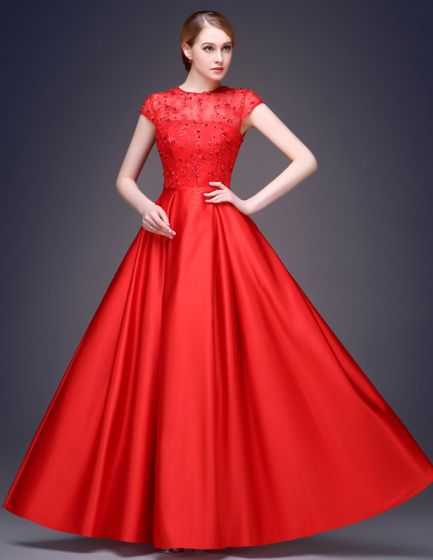 2015 A-line Sleeveless Square Neckline Floor Length Beading Flower Sequins Silk Satin Evening Dress