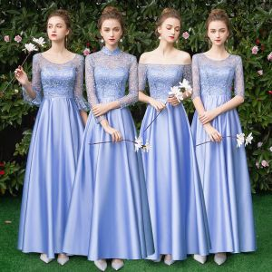 Affordable Sky Blue Satin Bridesmaid Dresses 2019 A-Line / Princess Floor-Length / Long Ruffle Backless Wedding Party Dresses