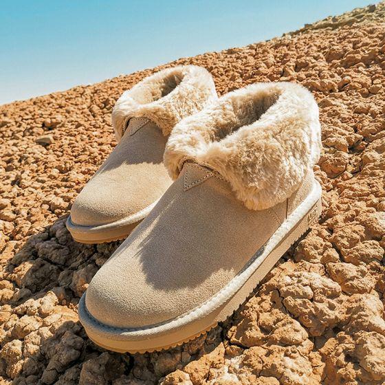 Schön Beige Schneestiefel 2020 Woll Leder Ankle Boots Winter Flache Freizeit Runde Zeh Stiefel Damen