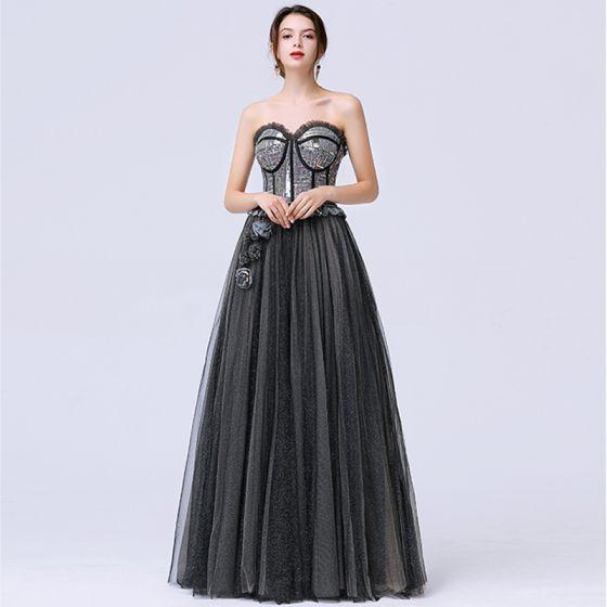 Chic Noire Dansant Robe De Bal 2020 Princesse Amoureux Sans Manches Paillettes Glitter Tulle Train De Balayage Volants Dos Nu Robe De Ceremonie