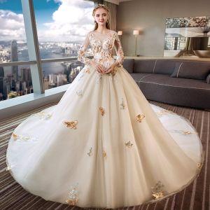 Romántico Marfil Transparentes Vestidos De Novia 2019 Ball Gown Scoop Escote Manga Larga Sin Espalda mariposa Apliques Con Encaje Cathedral Train Ruffle