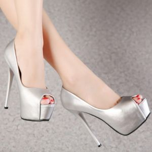 Schöne Ball Pumps 2017 Leder Hochhackige Plateau High Heel Peeptoes Pumps