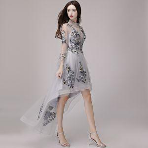 Haute Basse Gris Transparentes Été Robe De Cocktail 2018 Princesse Col Haut Manches Longues Appliques En Dentelle Asymétrique Volants Robe De Ceremonie