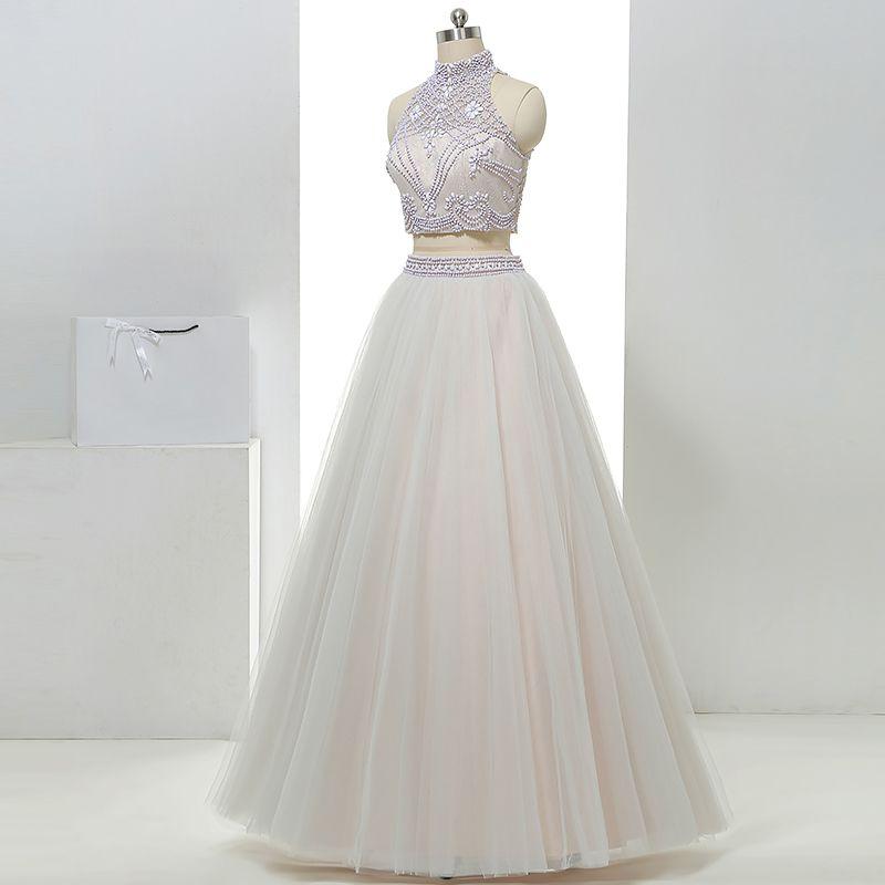 2 Piece Hall Wedding Dresses 2017 White A-Line / Princess Floor-Length / Long High Neck Sleeveless Backless Beading