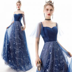 Modern / Fashion Navy Blue Evening Dresses  2019 A-Line / Princess Off-The-Shoulder Star Sequins Short Sleeve Backless Floor-Length / Long Formal Dresses