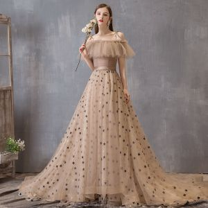 Modern / Fashion Champagne Prom Dresses 2019 A-Line / Princess Spaghetti Straps Star Sequins Ruffle Short Sleeve Court Train Formal Dresses