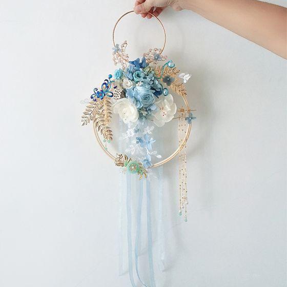 Klassisk Eleganta Himmelsblå Brudbukett 2020 Handgjort Tyll Metall Beading Kristall Blomma Pärla Rhinestone Brud Bröllop Bal Tillbehör