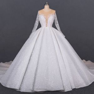 Luxury / Gorgeous Ivory See-through Bridal Wedding Dresses 2020 Ball Gown Scoop Neck Long Sleeve Handmade  Beading Glitter Tulle Cathedral Train