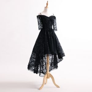 Chic / Beautiful Black Asymmetrical Cocktail Dresses 2017 Off-The-Shoulder 1/2 Sleeves Spaghetti Straps Lace Formal Dresses