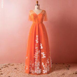 Schöne Orange Übergröße Abendkleider 2018 Tülle V-Ausschnitt Applikationen Schmetterling Rückenfreies Perlenstickerei Abend Festliche Kleider