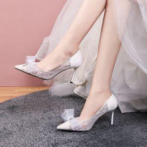 Elegante Witte Huwelijk Bruidsmeisjes Pumps 2020 Strik Kant Rhinestone 8 cm Naaldhakken / Stiletto Spitse Neus Bruidsschoenen