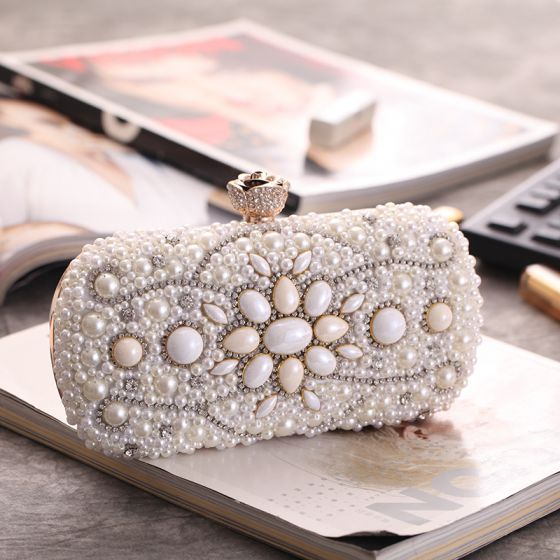 Modern / Fashion Ivory Clutch Bags Beading Pearl Rhinestone Accessories 2019