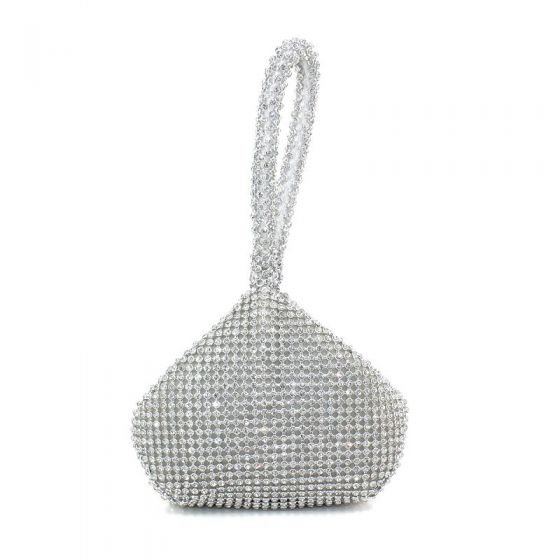 Modern / Fashion Silver Clutch Bags Beading Rhinestone Metal Cocktail Party Evening Party Accessories 2019