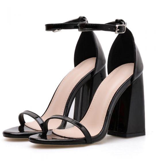 Rimelig Svart Casual Sandaler Dame 2020 Ankelstropp 10 cm Tykk Hæler Peep Toe Sandaler