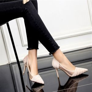 Chic / Beautiful 2017 9 cm Black Champagne Grey Casual Cocktail Party Evening Party PU Summer Pierced High Heels Stiletto Heels Open / Peep Toe Pumps