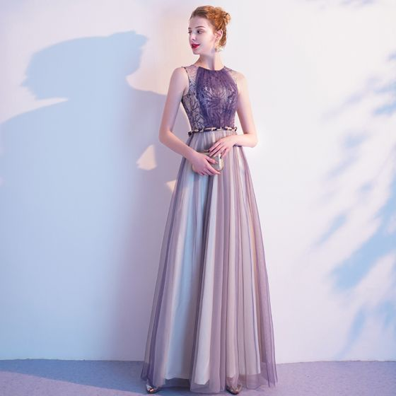 Chic / Beautiful Purple Evening Dresses  2020 A-Line / Princess Lace Scoop Neck Sleeveless Floor-Length / Long Formal Dresses