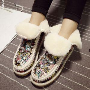 Moda Damska Kryształowe Buty Zimowe Wełny Rhinestone Śnieg