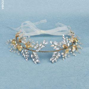 Traditional Gold Headpieces 2020 Metal Pearl Rhinestone Crystal Bridal Hair Accessories