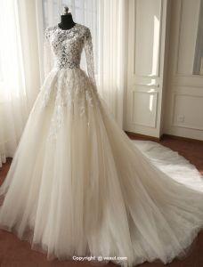 Smukke Brudekjoler 2016 Blonder Blomster Uden Ryg Tyl Bryllupskjole Med Lange Ærmer