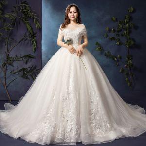 Luxus Hvide Plus Størrelse Brudekjoler 2019 Prinsesse U-udskæring Tulle Applikationsbroderi Halterneck Beading Håndlavet Cathedral Train
