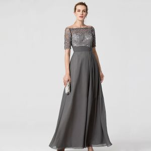 Chic / Beautiful Grey Mother Of The Bride Dresses 2020 A-Line / Princess Floor-Length / Long Short Sleeve Appliques Embroidered Rhinestone Strapless Evening Party Wedding Wedding Party Dresses