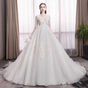 Elegant Ivory Pregnant Wedding Dresses 2019 Empire V-Neck Crystal Sequins Lace Flower 1/2 Sleeves Backless Cathedral Train