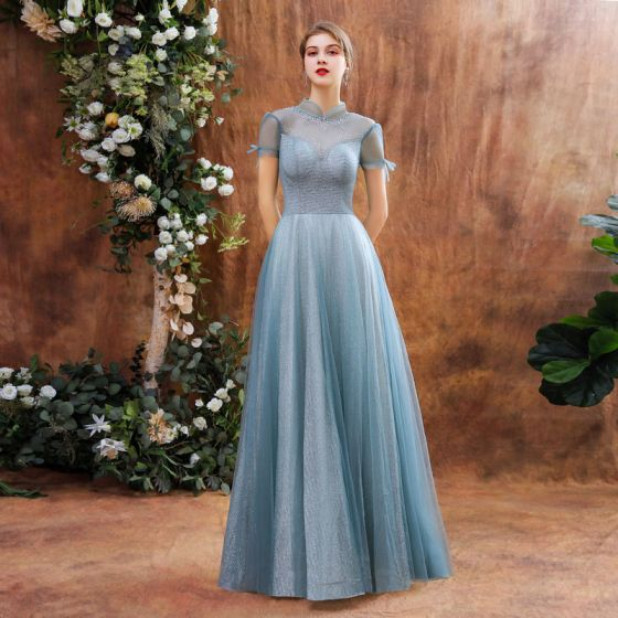 Charming Ocean Blue Prom Dresses 2020 A-Line / Princess See-through High Neck Short Sleeve Beading Glitter Tulle Floor-Length / Long Backless Formal Dresses