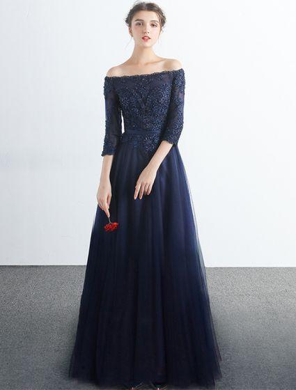 Elegant Prom Dresses 2017 Off The Shoulder 3/4 Sleeves Navy Blue Dress