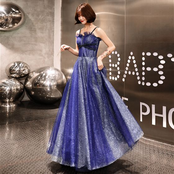 Starry Sky Royal Blue Evening Dresses  2019 A-Line / Princess Spaghetti Straps Sleeveless Glitter Tulle Floor-Length / Long Backless Ruffle Formal Dresses
