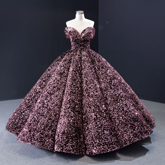Sparkly Candy Pink Sequins Dancing Prom Dresses 2020 Ball Gown Off-The-Shoulder Short Sleeve Floor-Length / Long Backless Formal Dresses