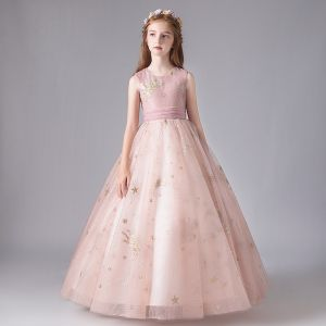 Chic / Beautiful Blushing Pink Birthday Flower Girl Dresses 2020 Ball Gown Scoop Neck Sleeveless Appliques Star Sequins Bow Sash Floor-Length / Long Ruffle