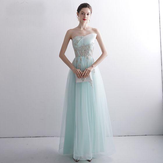 Classy Mint Green Evening Dresses  2020 A-Line / Princess Strapless Beading Lace Flower Sleeveless Backless Floor-Length / Long Formal Dresses