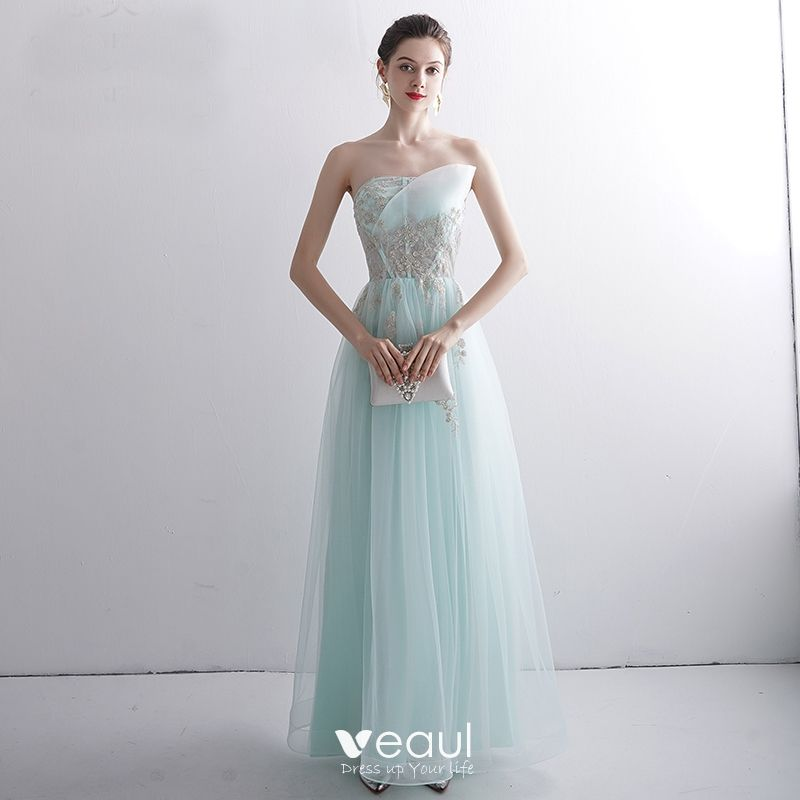 Cly Mint Green Evening Dresses 2020 A Line Princess Strapless Beading Lace Flower Sleeveless Backless Floor Length Long Formal